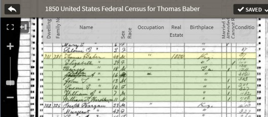 Thomas Baber in 1850 census